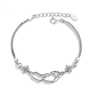 Double Heart Design Simple Bracelet - jolics