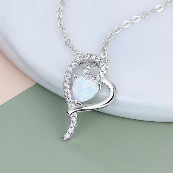 Double Heart Design White Opal Silver Necklace - jolics