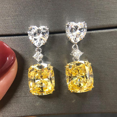 Elegant Cushion Cut Drop Earrings - jolics