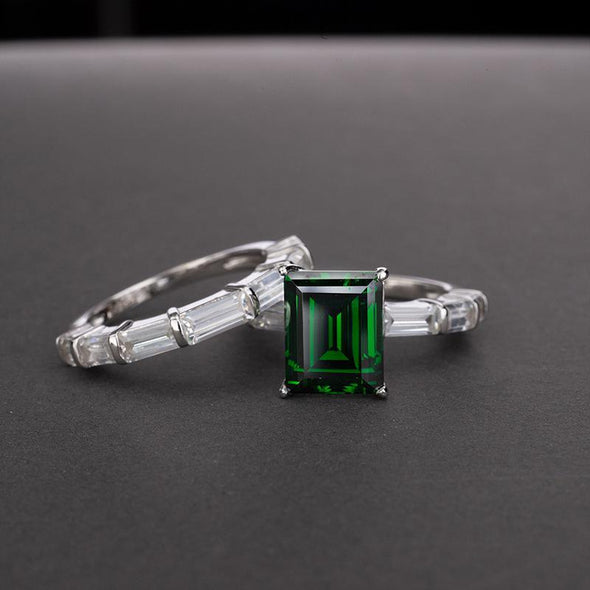 Emerald Baguette Wedding Set - jolics