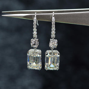 Emerald Cut 925 Sterling Silver Drop Earrings - jolics