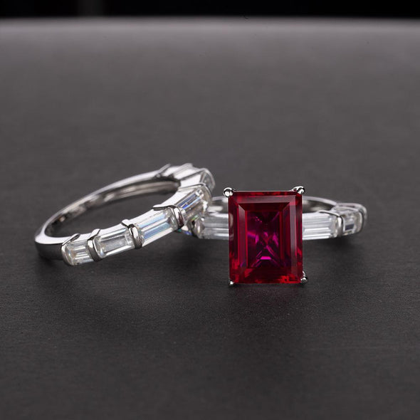 Emerald Cut 925 Sterling Silver Ring Set - jolics