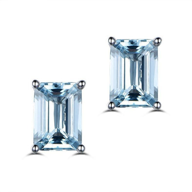 Emerald Cut Topaz Classic Silver Earrings - jolics