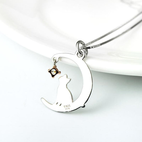 Fancy Moon Pendant Necklace With Cat - jolics