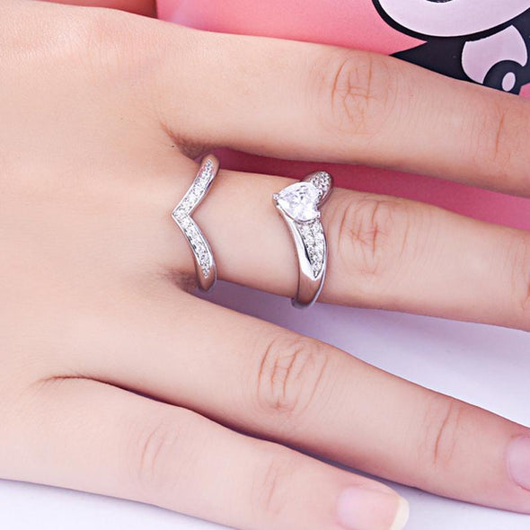 Fashion Curved Heart Shape Wedding Set - jolics