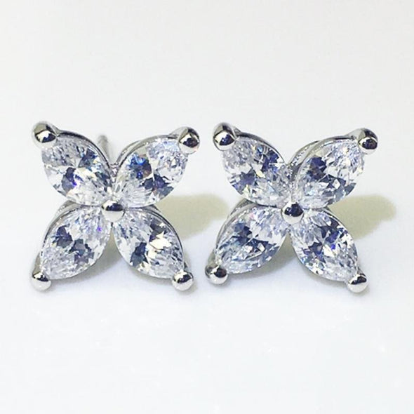 Four Leaf Clover Design Marquise Cut Earrings - jolics