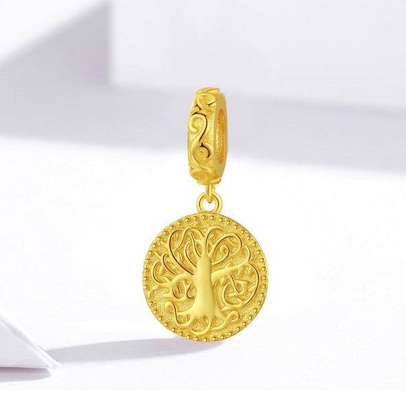 Gold Tree of Life 925 Sterling Silver Dangle Charm - jolics