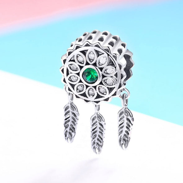 Green Stone Dreamcatcher 925 Sterling Silver Bead Charm - jolics