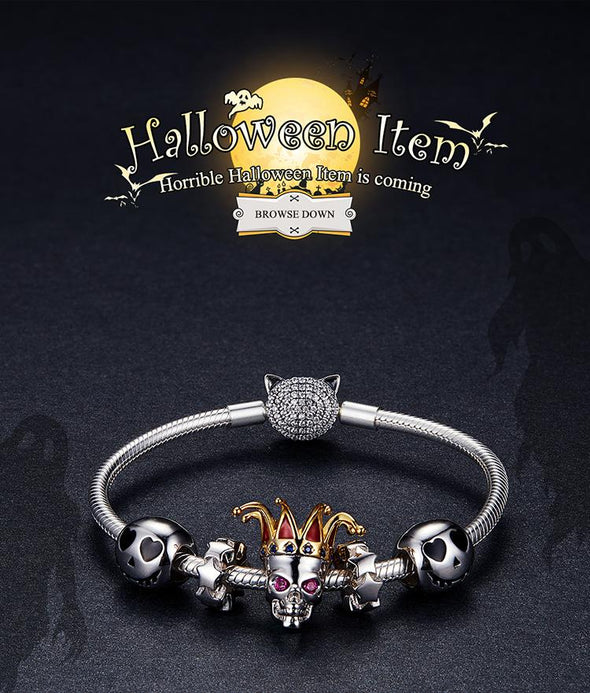 Halloween Skull with Envy Clown 925 Sterling Silver Bead Charm - jolics