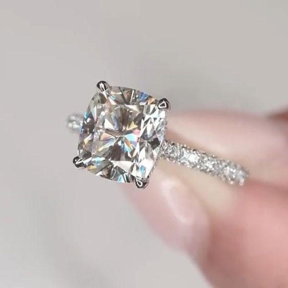 Handmade 3 CT Cushion Cut Sterling Silver Engagement Ring - jolics