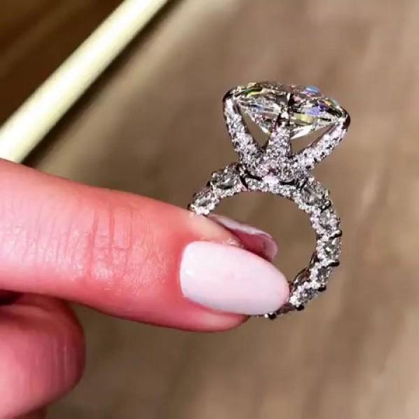 Handmade Cushion Cut 925 Sterling Silver Engagement Ring - jolics