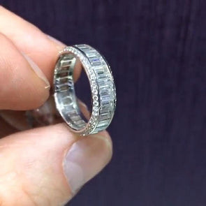 Handmade Emerald Cut Halo 925 Sterling Silver Band - jolics