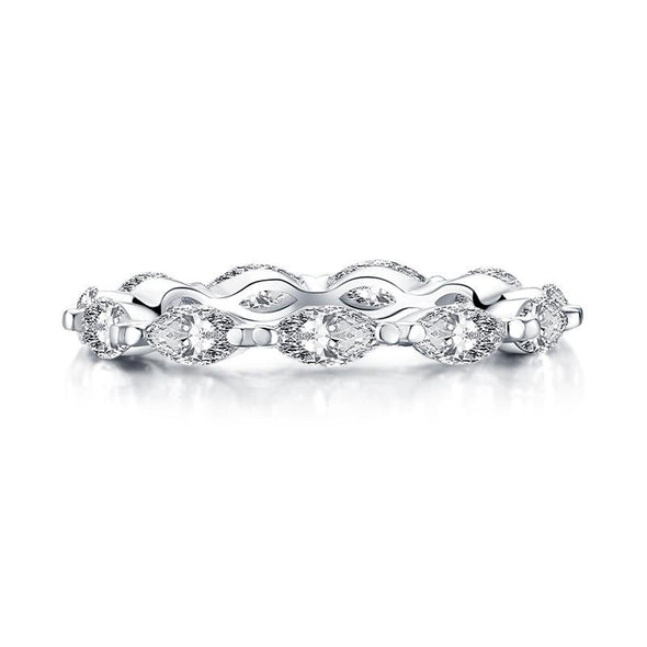 Handmade Marquise Cut Sterling Silver Eternity Band - jolics
