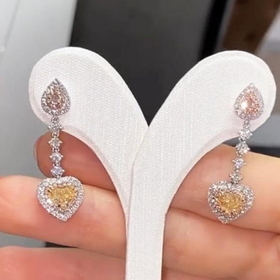 Heart Cut 925 Sterling Silver Drop Earrings - jolics