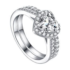 Heart Cut Halo Classic Wedding Set - jolics