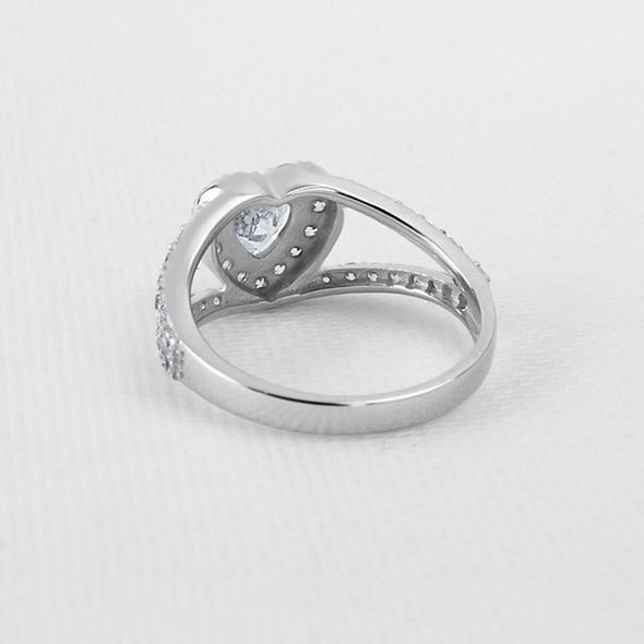 Heart Cut Halo Split Ring with Accents - jolics