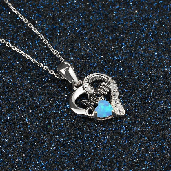 Heart Design Opal Pendant Necklace - jolics