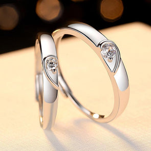 Heart Design Silver Couple Rings - jolics