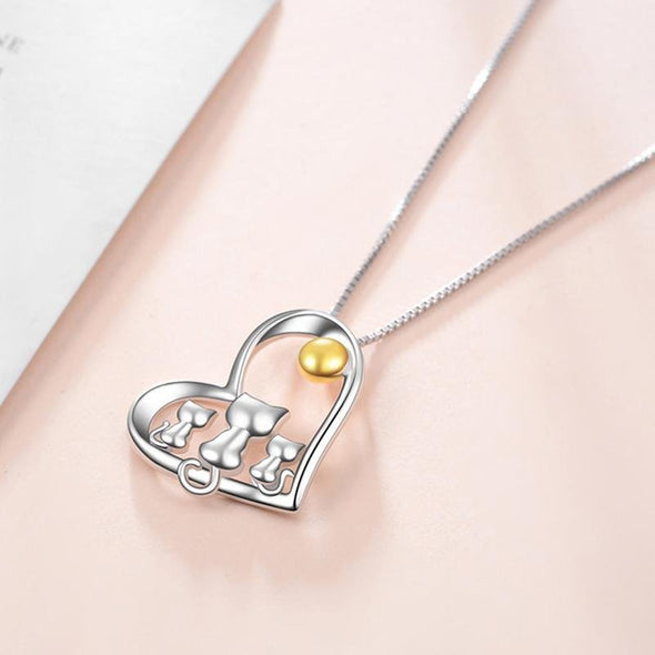 Heart Pendant Necklace With Family Cat - jolics