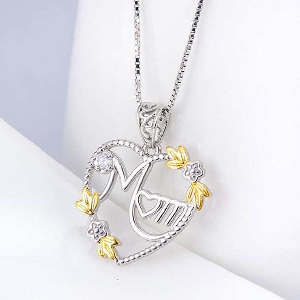 Heart Pendant Necklace With Flowers - jolics