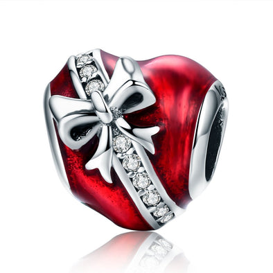 Heart Shape Gift Box 925 Sterling Silver Bead Charm - jolics