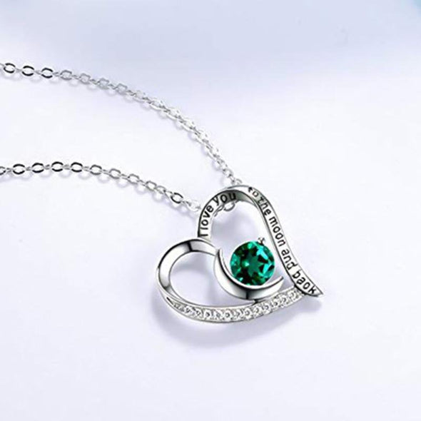 Heart Shape Moon Round Cut Colorful Stone Necklace - jolics