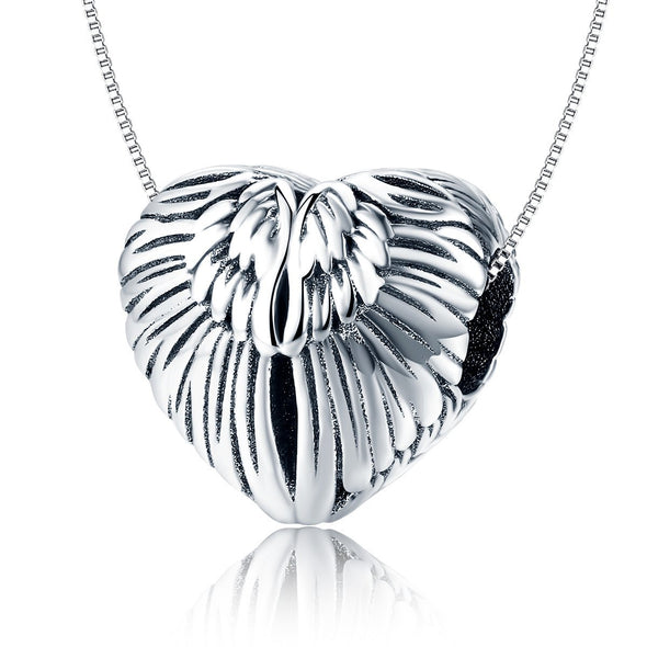 Heart Shape Wings 925 Sterling Silver Bead Charm - jolics