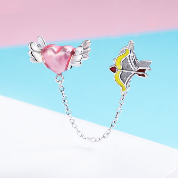 Heart with Bow and Arrow 925 Sterling Silver Safety Chain Charm - jolics