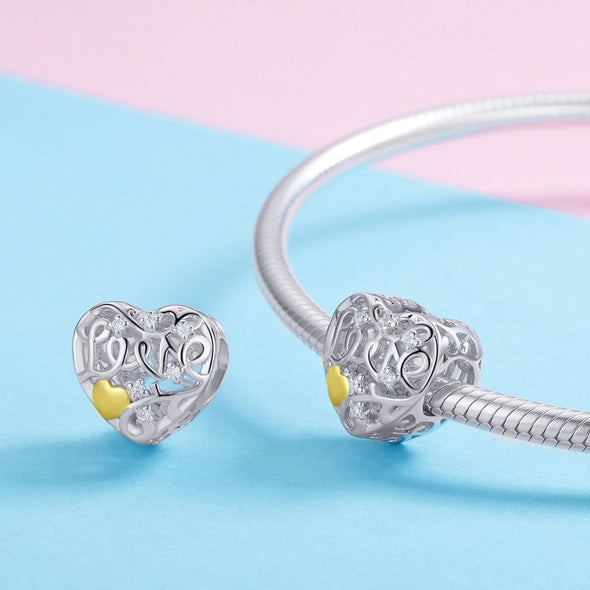 Hollow Out Heart 925 Sterling Silver Bead Charm - jolics