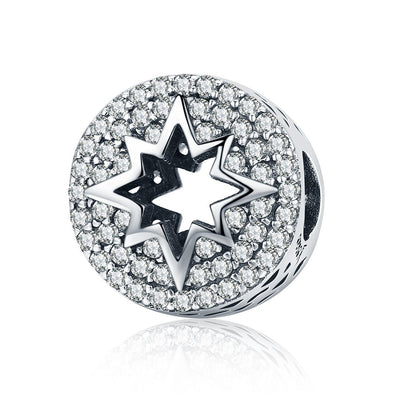 Hollow Out Star 925 Sterling Silver Pavé Charm - jolics