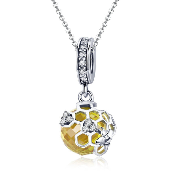 Honeycomb 925 Sterling Silver Dangle Charm - jolics