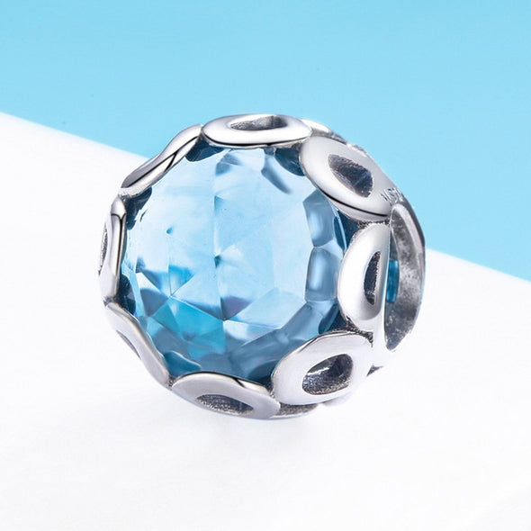 Infinity Blue 925 Sterling Silver Glass Bead Charm - jolics