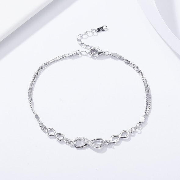 Infinity Love 925 Sterling Silver Adjustable Chain Bracelet - jolics