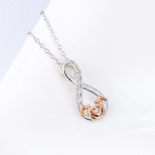 Infinity Pendant Necklace With Stones - jolics
