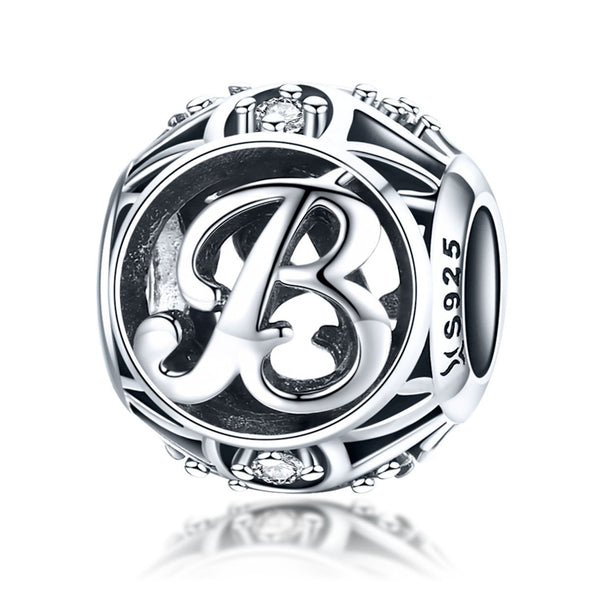 Initial Letter A-Z 925 Sterling Silver Charms for Bracelet - jolics