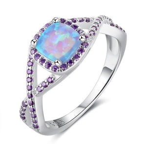 Intertwined Opal Halo Ring With Purple Stones - jolics