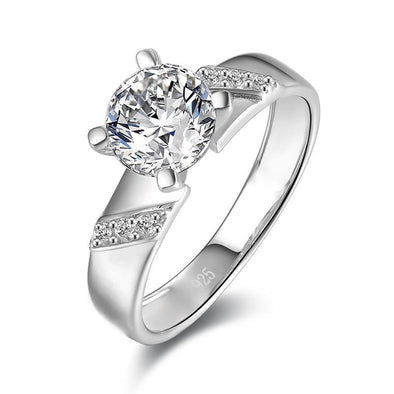 Jolics 1.25ct Round Cut Widen 925 Sterling Silver Ring - jolics