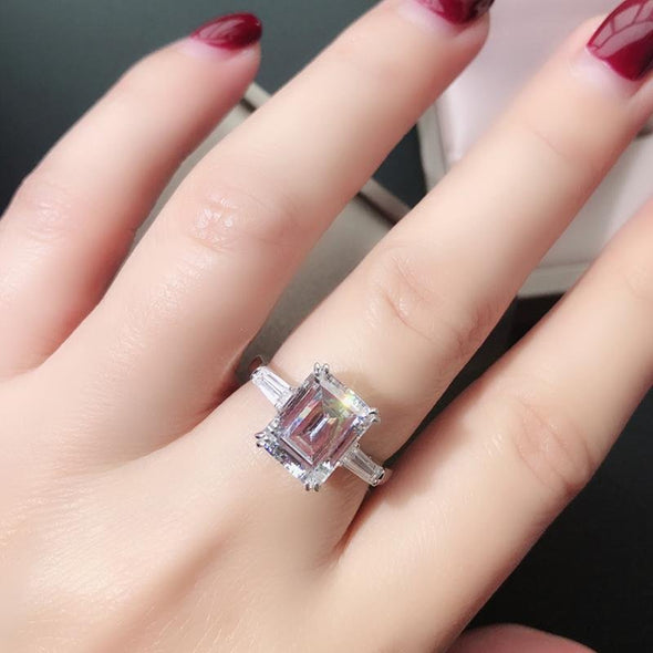 Jolics 3CT Emerald Cut Tapered Double Prong Three Stone Ring - jolics