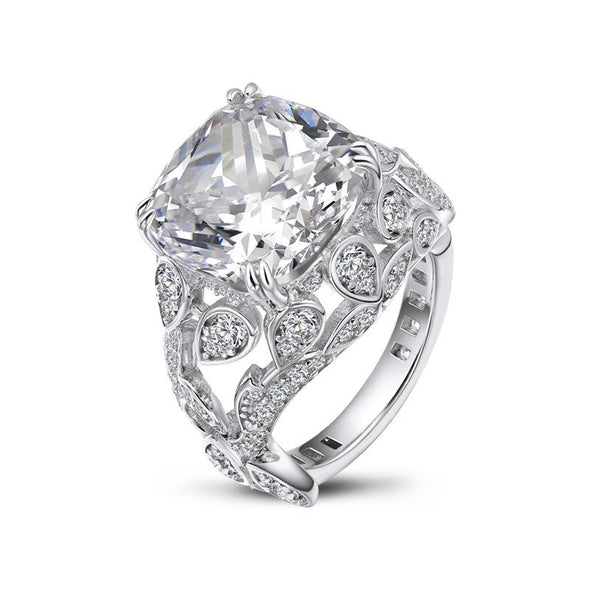 Jolics Cushion Cut Double Prong Sterling Silver Engagement Ring - jolics