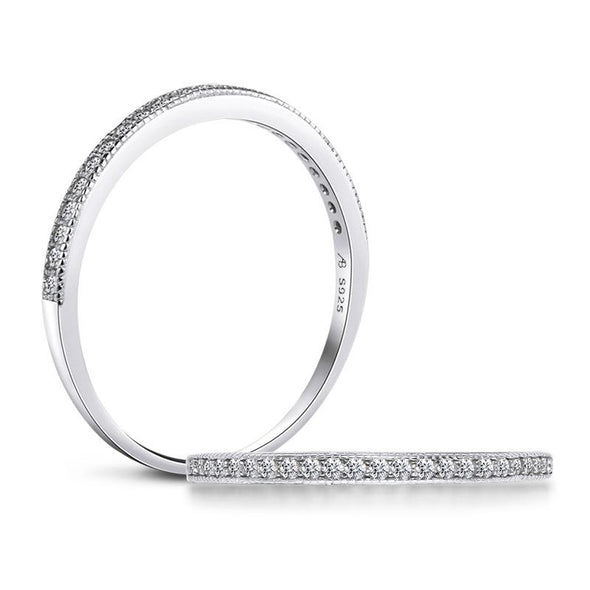 Jolics Half Eternity Sterling Silver Stackable Band - jolics