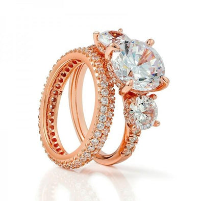 Jolics Handmade 2.0 CT Rose Gold Three Stone Round Cut Sterling Silver Ring Set - jolics