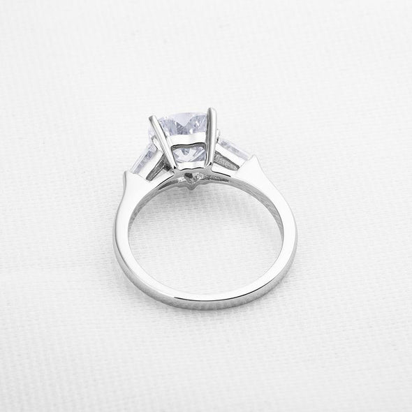 Jolics Handmade 2.0 CT Tapered Three Stone Silver Heart Ring - jolics