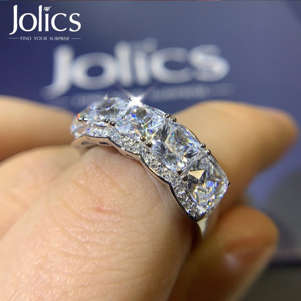Jolics Handmade 4ct Cushion Cut Halo Silver Wedding Band - jolics