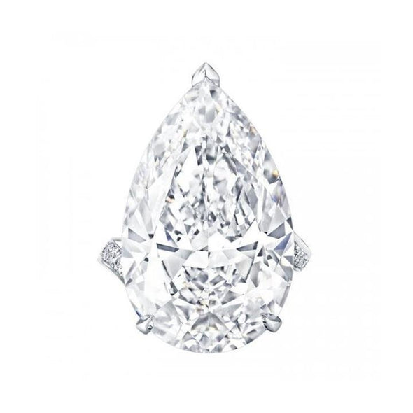 Jolics Handmade 5.0 CT Flawless Pear Cut Bypass Sterling Silver Ring - jolics