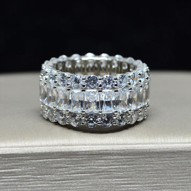 Jolics Handmade 7.6 CT Radiant Eternity Sterling Silver Band Ring - jolics