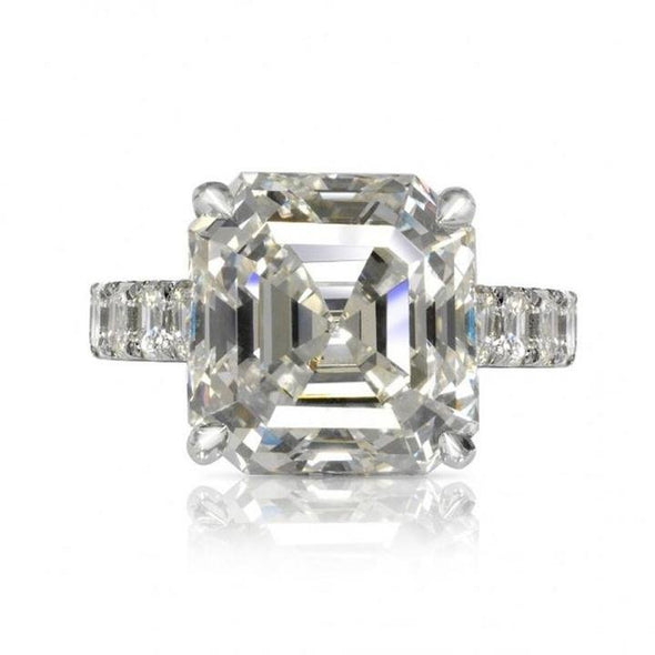 Jolics Handmade 9.5 CT Asscher Cut Sterling Silver Engagement Ring - jolics