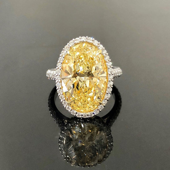 Jolics Handmade Oval Cut Halo Yellow Sapphire Sterling Silver Ring - jolics