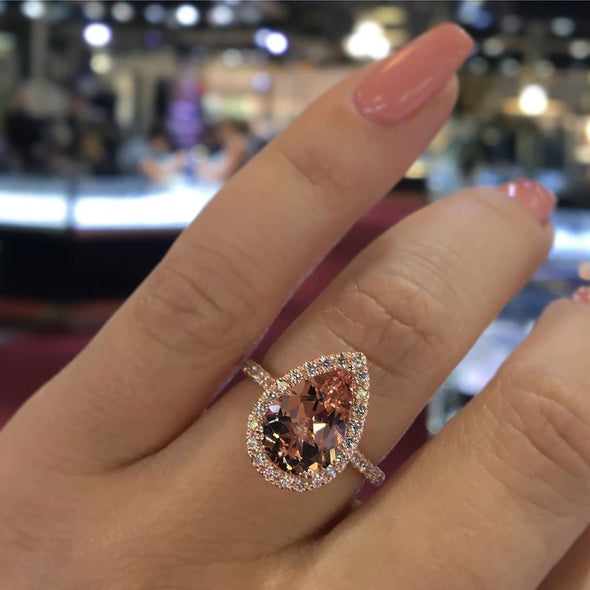 Jolics Handmade Rose Gold Pear Cut Sterling Silver Engagement Ring - jolics