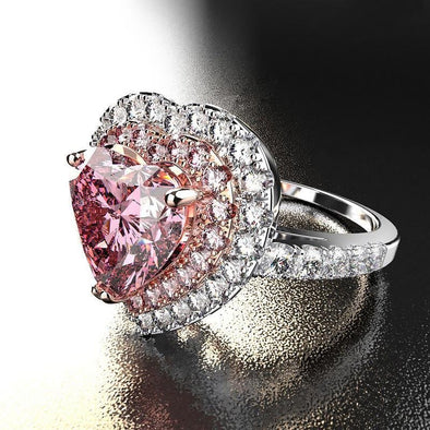 Jolics Heart Cut Double Halo Pink Ring - jolics