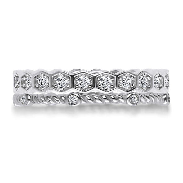 Jolics Honeycomb Rope Sterling Silver Ring Set - jolics